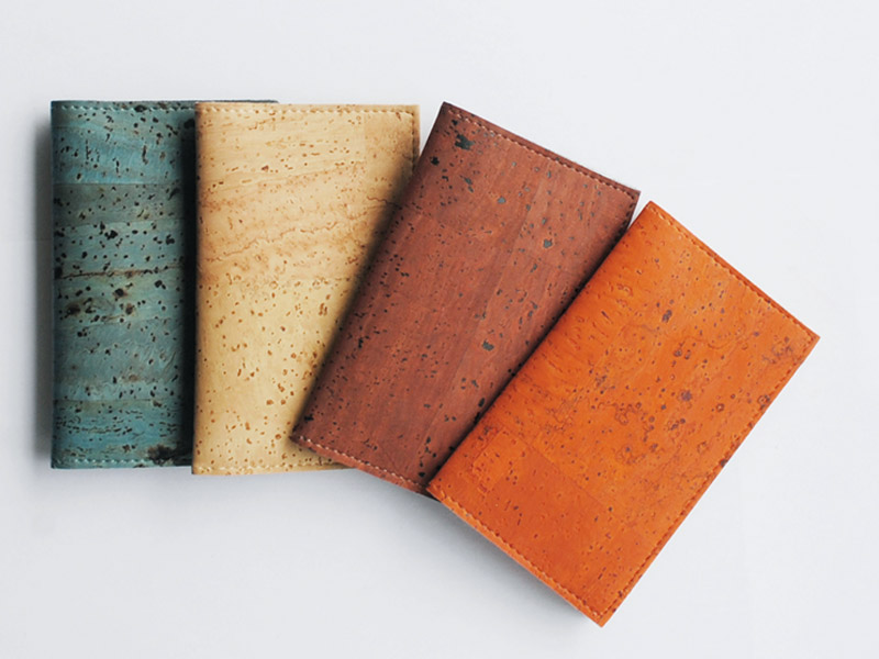A wallet made up of cork vegan leather. Cruelty free, animal free, vegan leather, faux leather handbags